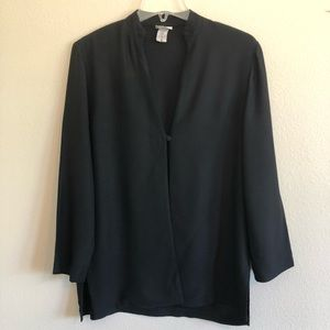 Eileen Fisher Black, Single Button Rayon Jacket S